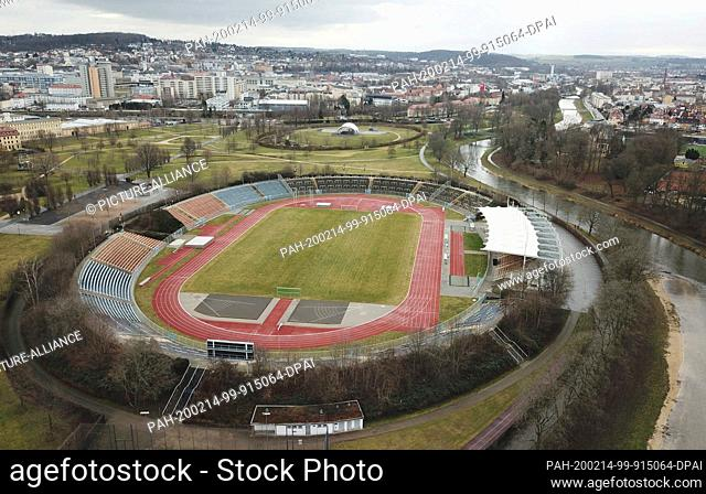 14 February 2020, Thuringia, Gera: In cloudy weather the stadium of friendship can be seen (shot with a drone). Also for the next days changeable weather is...