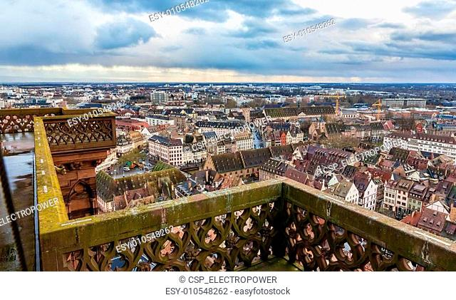 View of Strasbourg from the roof of the cathedral