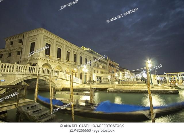 Venice, Veneto, Italy: Twilight in St. Marks square. Bridge of sighs