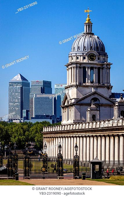 The Old Royal Naval College & Canary Wharf Financial District, London, England