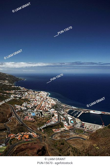 View over Santa Cruz harbour and capital city of La Palma, Canary Islands