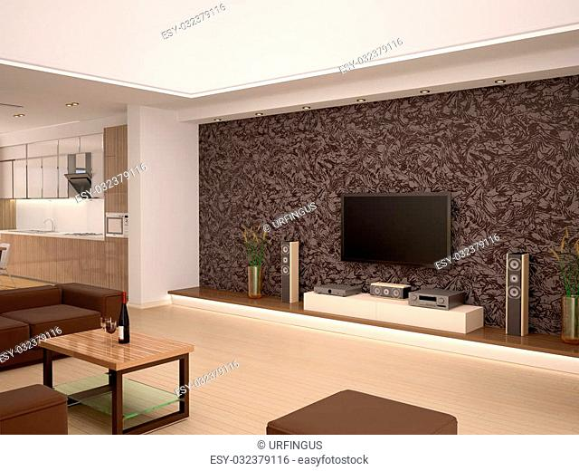 3d illustration of Interior modern home theater in a cozy room overlooking the kitchen