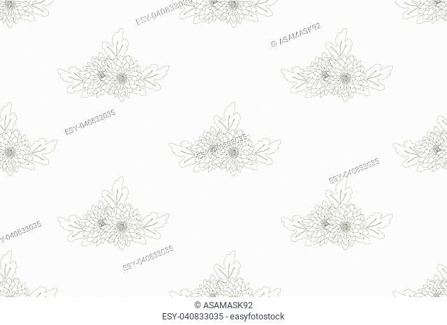 Chrysanthemum Flower Seamless on White Background. Vector Illustration