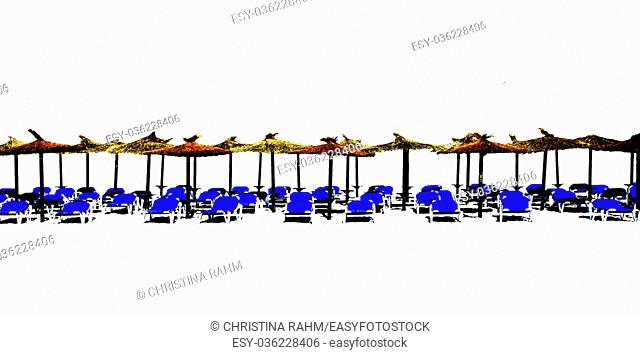 Beach chaise lounges with straw parasols in a row isolated on white for design margin