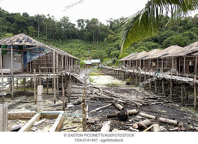 Abandoned bungalows in Sok San Beach, Koh Rong Island, Sihanoukville province, Kingdon of Cambodia