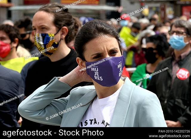 Madrid, Spain; 01.05.2021.- Minister of Equality Irene Montero and her husband canditate Pablo Iglesias..The unions return to the streets on May Day asking to...