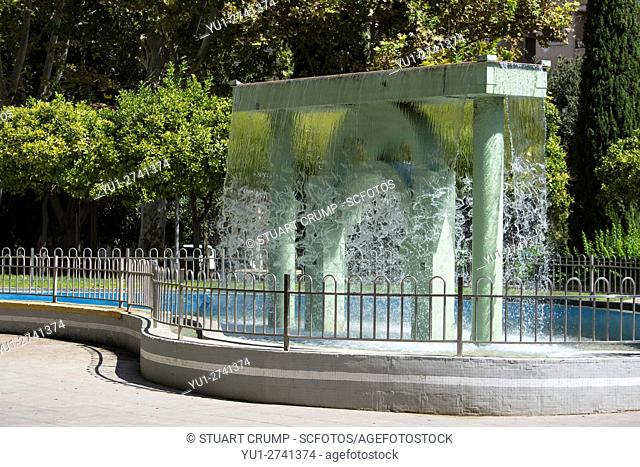 Water Feature fountain in the Jardin El Salitre in the centre of Murcia city , Spain
