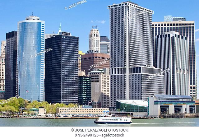 At right Staten Island Ferry Terminal, Skyline from the Staten Island Ferry, Lower Manhattan, Downtown, Manhattan, New York City, New York, USA