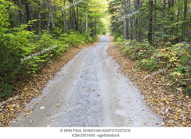 The Sandwich Notch Road in Sandwich, New Hampshire during the autumn months. This historic road was established in 1801