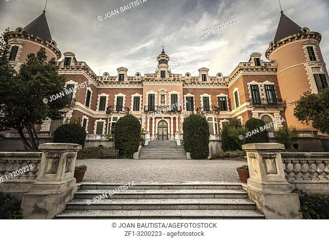 Classic architecture, building, palace in Gardens of Palau de les Heures. Barcelona