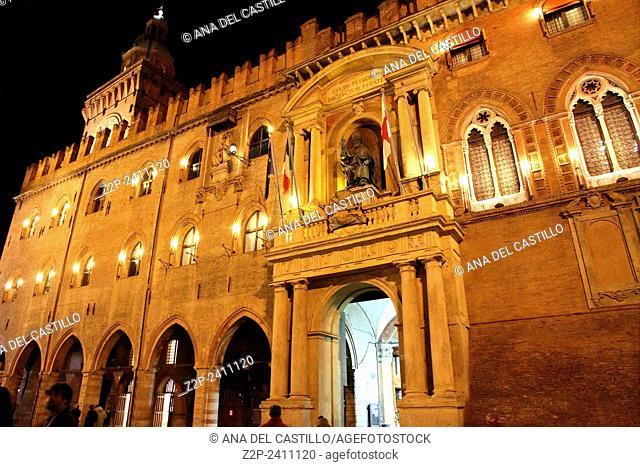 Palazzo d'Accursio or Palazzo comunale, Piazza Maggiore at night Bologna Emilia Romagna Italy