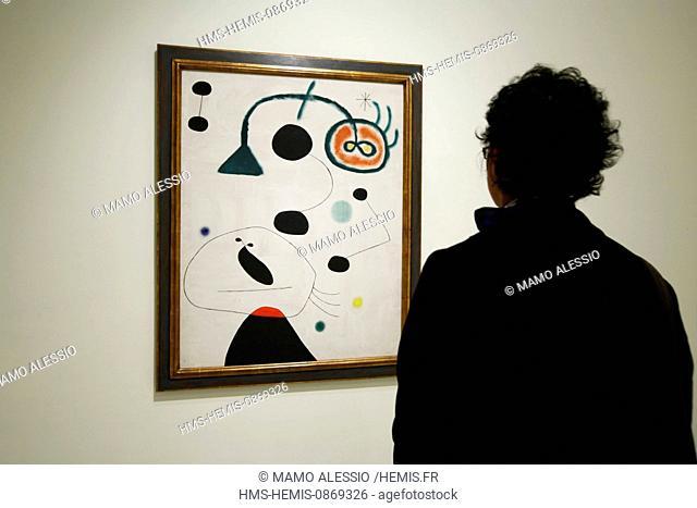 Spain, Madrid, Museo Nacional Centro de Arte Reina Sofia (Queen Sofia Museum), Joan Miro painting
