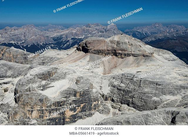 Sella group with Piz gust, dolomites, aerial picture, high mountains, Trentino, Italy