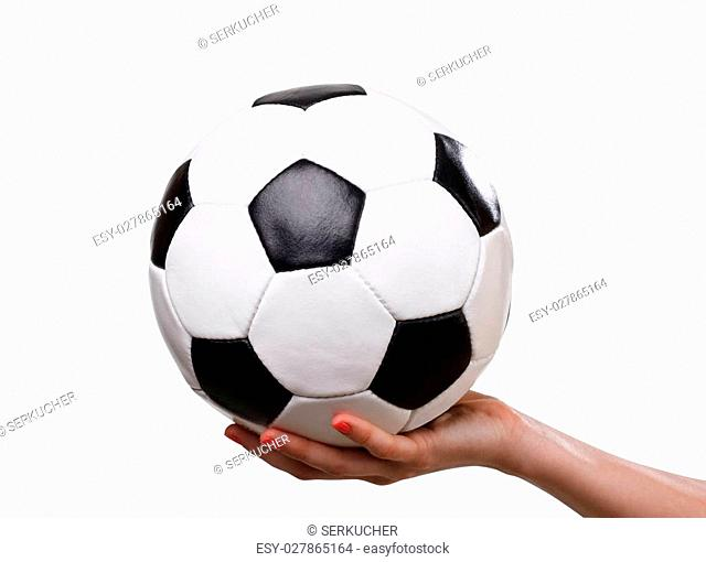 classic football ball in hand, isolated