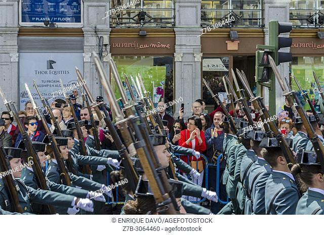 Civil Guards on parade. 2nd May, Dia de la Comunidad de Madrid (Madrid Holiday). Puerta del Sol, Madrid, Spain