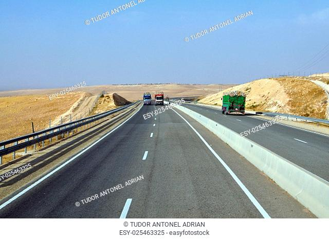 morocco highway outdoor view and atlas mountains landscape