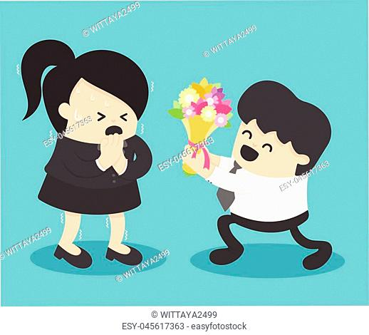 business woman fear of love From male businessmen to flowers. Isolated front view on background