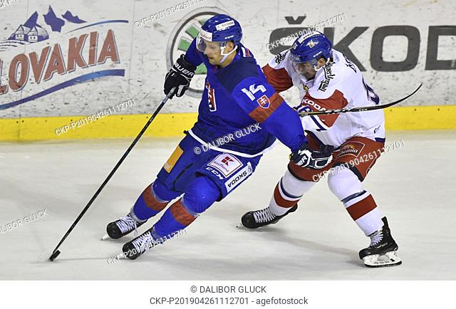 L-R Richard Panik (SVK) and Rudolf Cerveny (CZE) in action during the Euro Hockey Challenge match Slovakia vs Czech Republic in Trencin, Slovakia, April 26
