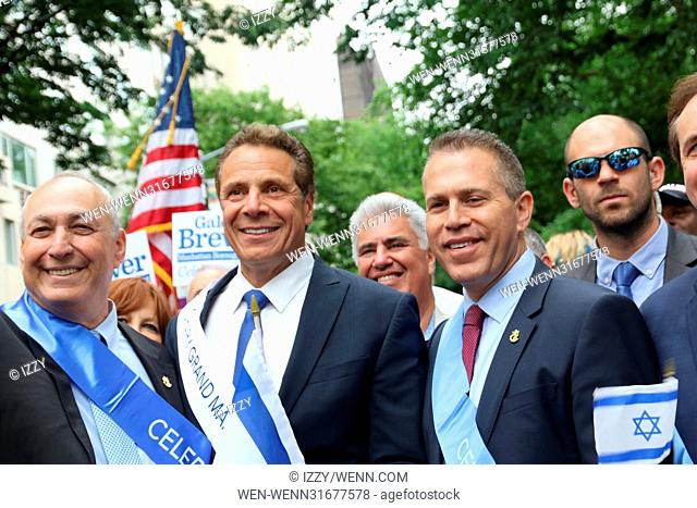 2017 Celebrate Israel Day Parade on Fifth Avenue in New York City. Featuring: Minister Gilad Erdan, NY Governor Cuomo, Nehemia Peres Where: New York City