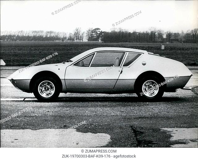 Mar. 03, 1970 - Introducing new Alpine Renault ?¢'Ǩ?ìA 310?¢'Ǩ¬ù. OPS: The new Renault A 310 presented to the press. It is equipped with a 9 HP engine derived...