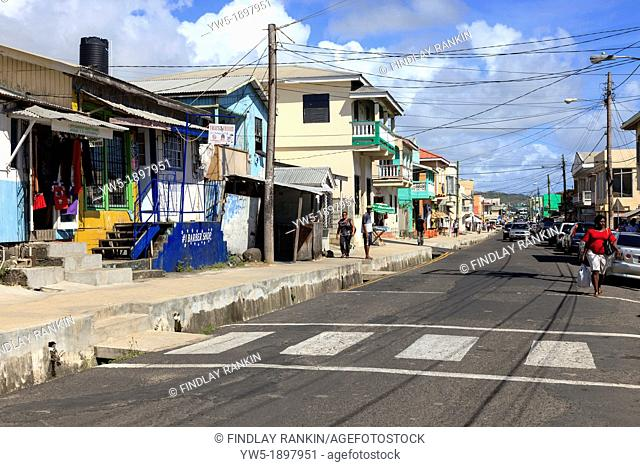 View along Clark Street, Vieux Fort, St Lucian  Clark Street is the main thoroughfare in the town