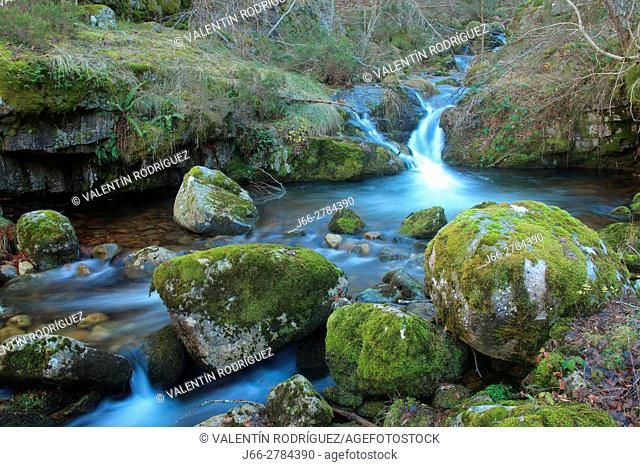 Waterfall in the river Puente Ra in the natural park of the Sierra Cebollera. La Rioja