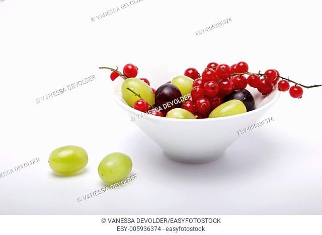 Studio photograph of a white bowl with grapes and redcurrents on a white background