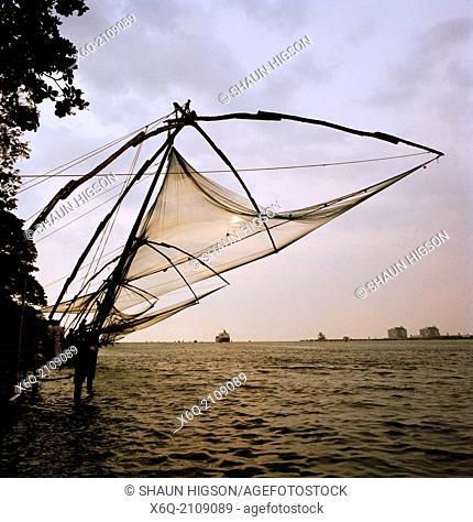 Chinese fishing nets in Fort Kochi (Cochin) in Kerala in India