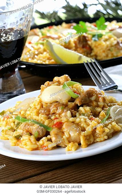 Garden made with vegetables paella with chicken just served