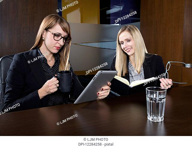 Two professional business women during a training session in a boardroom; St. Albert, Alberta, Canada