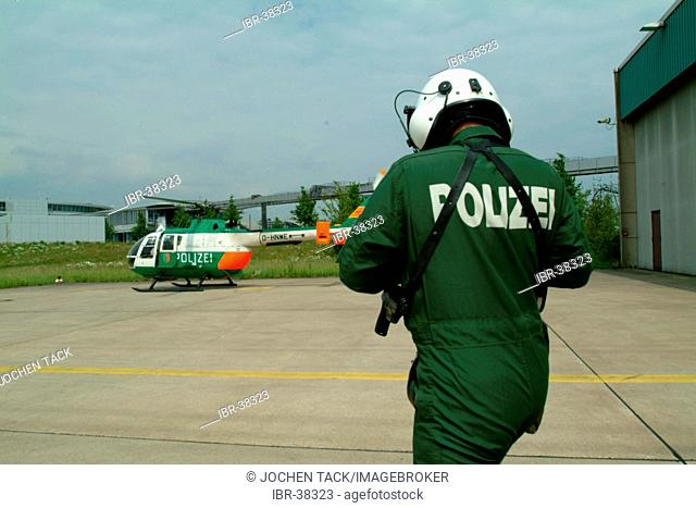 DEU, Germany, Duesseldorf: Police flying squad. Police helicopters. Type MBB BO105