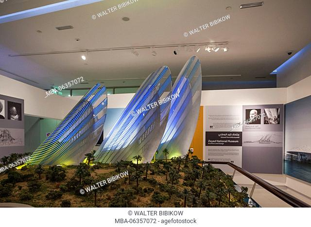 UAE, Abu Dhabi, Saadiyat Island, Manarat Al Saadiyat, welcome center for museum island development, scale model of Sheikh Zayed Museum