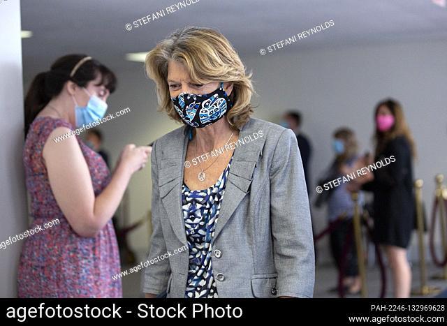 United States Senator Lisa Murkowski (Republican of Alaska) departs GOP policy luncheons on Capitol Hill in Washington D.C., U.S