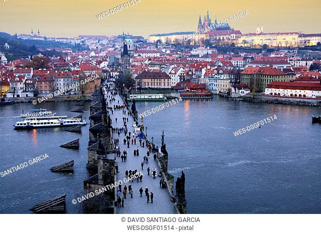 Czechia, Prague, cityscape with Charles Bridge at dusk seen from above