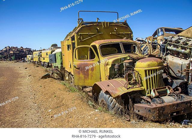 Italian tank cemetery in Asmara, capital of Eritrea, Africa