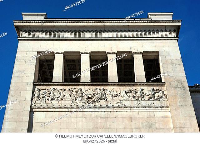 Propylaea, relief, south tower, architect Leo von Klenze, Königsplatz, Munich, Bavaria, Upper Bavaria, Germany