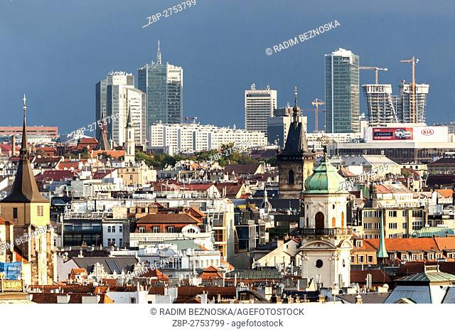 Czech Republic, Prague, Old Town, Skyscrapers in the background in the district of Pankrac