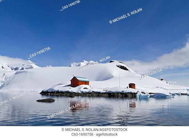 View of the Argentine base Almirante Brown named after Guillermo Brown, the father of the Argentine Navy in Paradise Bay, Antarctica