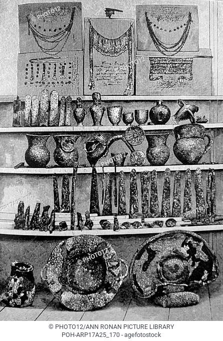 Priam's Treasure, a cache of gold and other artefacts discovered by classical archaeologist Heinrich Schliemann (1822-1890) a German pioneer in the field of...