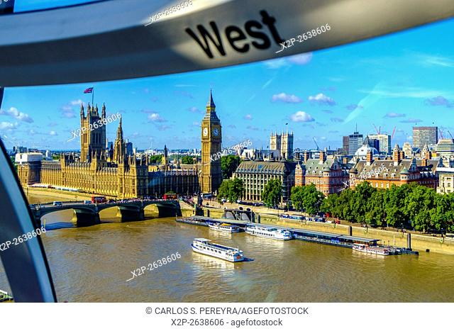 View of the river Thames from the London Eye, London, England, United Kingdom