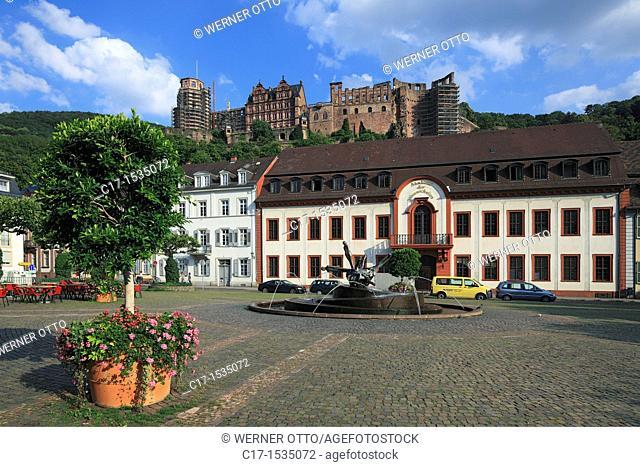 Germany, Heidelberg, Neckar, Rhine-Neckar area, nature reserve Neckartal-Odenwald, Bergstrasse, Odenwald, Baden-Wuerttemberg, old town, Karlsplatz, Karl square