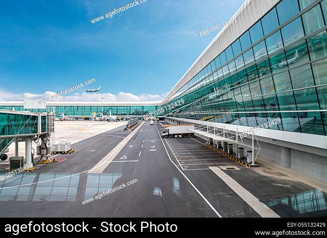 modern airport scene, futuristic airport terminal
