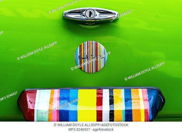 Boot lid of a mini in replica Paul Smith colour scheme