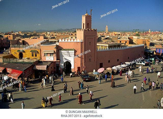 Mosque and Djemaa el Fna, Marrakesh, Morocco, North Africa, Africa