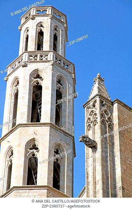 Santa Maria del Mar is a gothic church in the Ribera district of Barcelona Spain