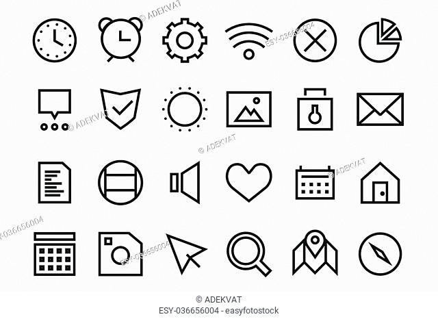 Outline vector UI user interface technology black and white icons set. Web net ui hud gui user interface icons for web and mobile app
