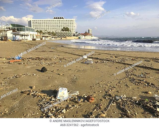 Waste on the beach close to Salamis hotel. Cyprus