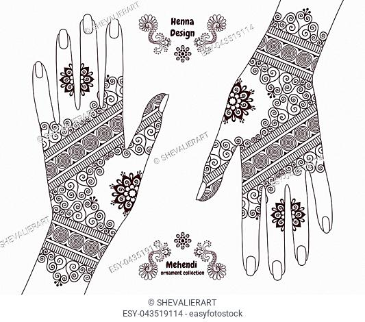 Henna tattoo hands background. Mehendi ornament design. Indian ethnic style ornamental pattern. Ornaments are not cropped and hidden under clipping mask