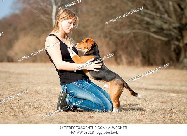 young woman with Beagle