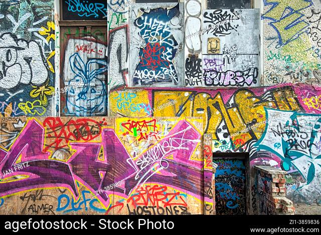 wall with graffity in Berlin, Germany